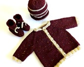 Baby knit Sweater 0 TO 3 Months / Tweed dark red Aran yarn, Rolled Brim Hat, booty / Ready to Ship OOAK