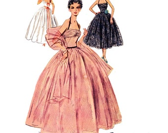 1950s Evening Dress Pattern Uncut Bust 29 Simplicity 4584 Junior Full Skirt Formal Bombshell Halter Ball Gown Womens Vintage Sewing Patterns