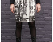 Victorian City Skirt - Pencil skirt - Printed skirt - Off White Mini skirt - Black White