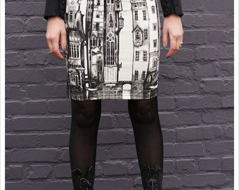 SALE - Victorian City Skirt - Pencil skirt - Printed skirt - Off White Mini skirt - Black White