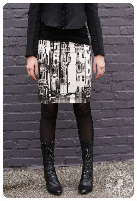 SALE Victorian City Skirt - Pencil skirt - Printed skirt - Off White Mini skirt - Black White