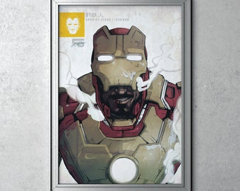 IRON MAN - Tony Stark - Avengers Series - Robert Downey Jr - Ironman Original Art Poster