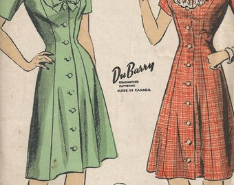 1940s Misses Princess Seam Dress Size 14 Bust 32 DuBarry Pattern 5883 U Shaped Ruffle or Collar Neckline Front Button
