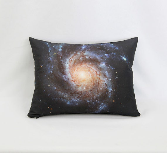 Pinwheel Galaxy Pillow Cover - Outer Space Photo on Fabric by NASA's Hubble Space Telescope; White, Brown, Peach, Black