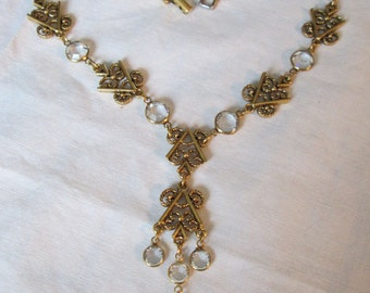 Vintage Bezel Set Clear Glass Crystal Etruscan Link Double Drop Necklace