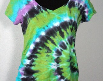 Size Medium  Maternity Tee, Old Navy Tie Dyed Short Sleeve V-Neck,   Spiral Design in Turquoise, Lime, Violet, and Black, Ready To Ship