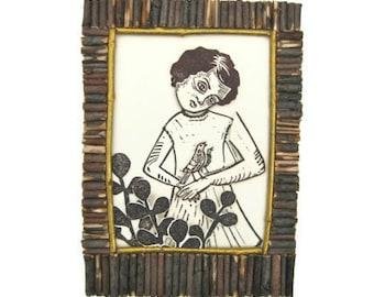 "HANDMADE PRINTMAKING. ""Fool""  linoleum print collage mounted on wood, 7""x5"""