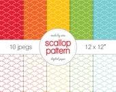 "Digital Paper Rainbow Scallop pattern Pack of 10 - INSTANT DOWNLOAD 12x12"" Scrapbooking digital download"