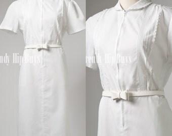 Vintage White Dress, Mod Dress, Mad Men Dress, 60s Dress, Cotton Dress - L