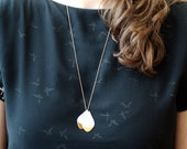 E m a - Long necklace silver (platinum) &  fine gold  - porcelain jewelry - white elegant ceramic