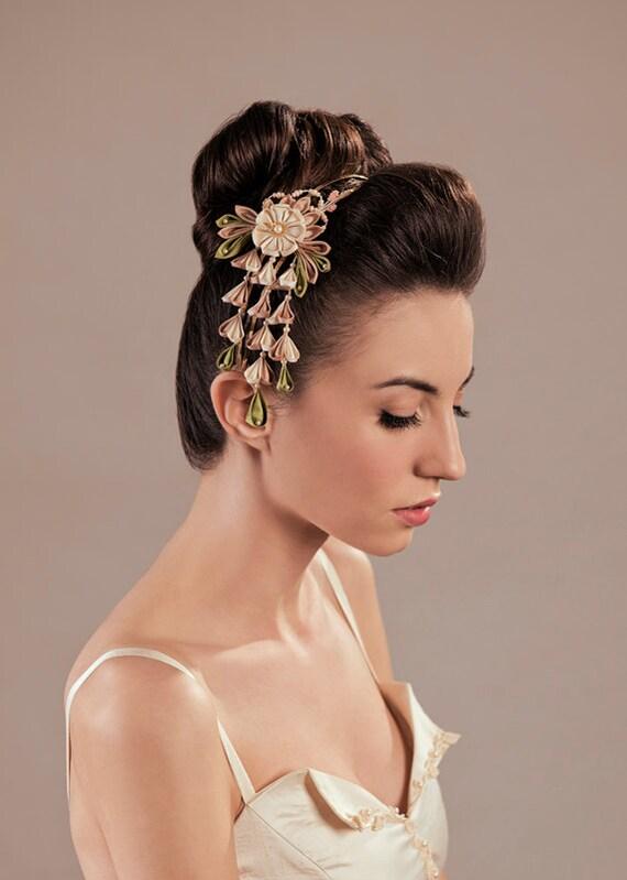 Items similar to Ume Silk Flowers Bridal Blush Headpiece ...