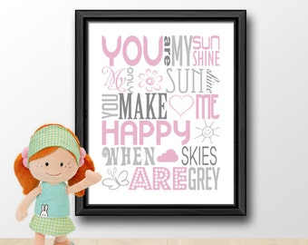 you are my sunshine baby decor, pink and gray nursery quotes, baby quotes, sunshine baby shower, nursery rhyme decor, nursery song print