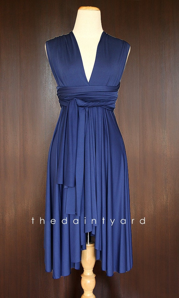 Midnight blue bridesmaid convertible dress infinity dress for Midnight blue wedding dress