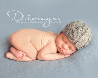 Newborn photo prop, newborn hat, newborn boy, newborn girl, newborn props,  Grey or any color newborn cable beanie