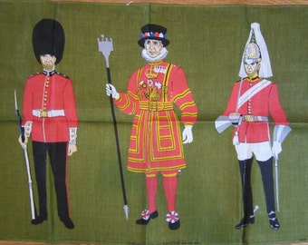 Irish Linen Tea Towel - Queens Guards by Ulster - Extra Large - Like New - Reg No 4794
