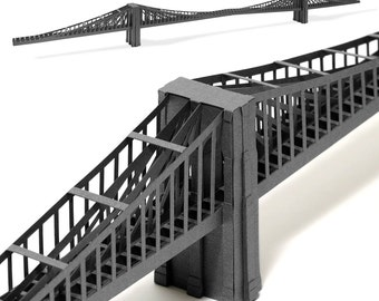 Brooklyn Bridge, paper model kit with pre-cut details || New York City landmark || 39 inches long || silver, steel or coffee color