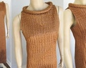 1960s  Saks Fifth Avenue Dress   Long Copper Sheath  Atomic Era Style