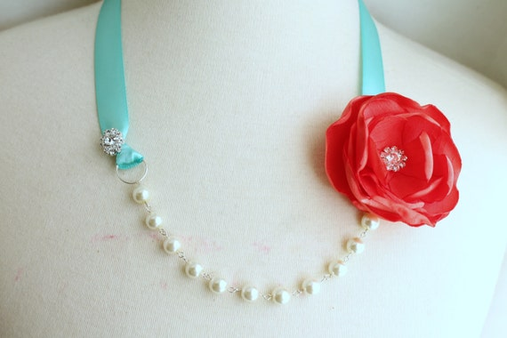Pearl Crystal Ribbon Necklace - Coral Red Turquoise - Bridal Bridesmaids - Wedding Gift Accessory - Many Colors - Ready to Ship