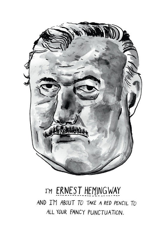 Ernest Hemingway punctuation poster print Great American Writer
