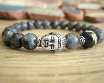 Buddha Bracelet - Larvikite Bracelet with Silver Buddha and Mala Bead, Norwegian Black Moonstone for Psychic Protection and Intuition