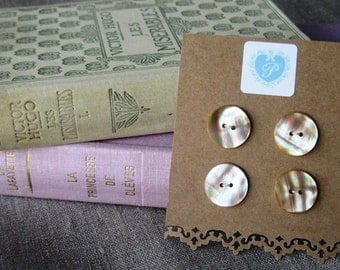 4 x French Vintage Mother-of-Pearl Buttons - 18mm