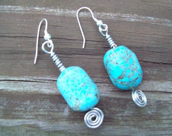 Turquoise Nugget Earrings Wire Wrapped   ID 142