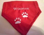 Red, Valentine, Dog Bandana Personalized,  Monogrammed,  Over the Collar Dog Bandana Dog Paws