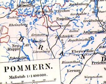 Pomerania Germany Map 1903 Vintage Edwardian Steel Engraving European Cartography To Frame