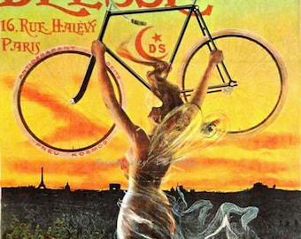 Deese Bicycles Jean de Paleogue Art Nouveau Fairy Woman 1898 Lithograph Bike Poster Paris France Transportation Ad To Frame