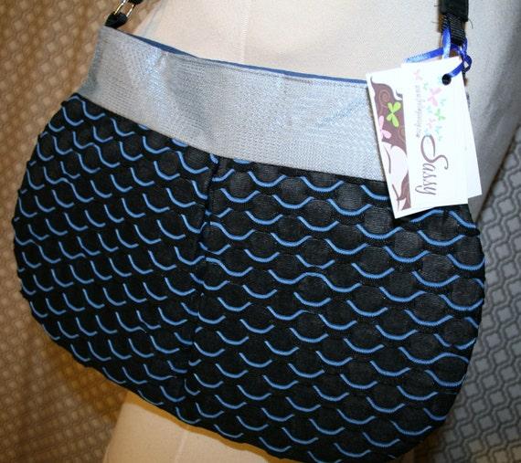 Navy Blue Fabric Shoulder Bag, Handmade Handbag, Fabric Purse, Tonya ...