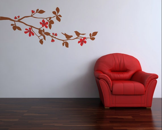 Cherry Blossom Branch Wall Decal, Childs Tree Branch Wall Art Vinyl Decal, size SMALL - Cherry Blossom, Tree Branch Wall Decal