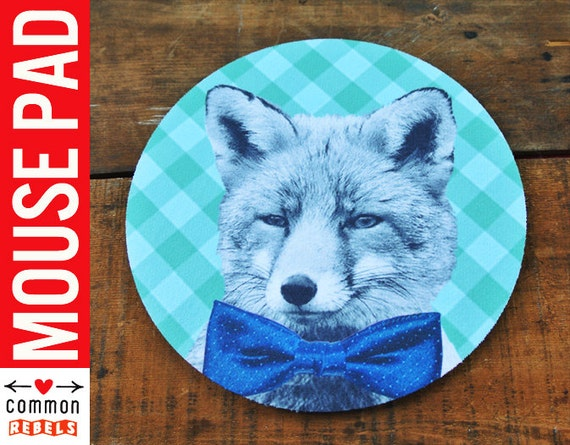 Bow Tie FOX mouse pad bowtie gingham checks FANTASTIC mr  oh yeah mousepad