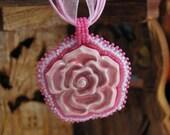 Blushing - Ceramic Rose Beaded Cabochon Pendant