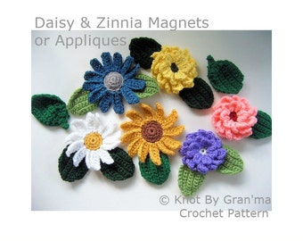 Crochet Pattern, Floral Pattern, Flower Pattern, Daisy Crochet, Zinnia Crochet, Pattern for Magnets or Appliques