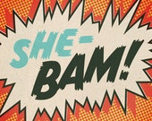Comic Strip Prints - Set of Four - Shebam, Pow, Blop, Wizz - Serge Gainsbourg Inspired