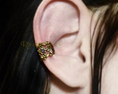 Filigree Ear Cuff Gothic Antique Gold Bronze Tone Earring No Pierce non pierced ONE piece
