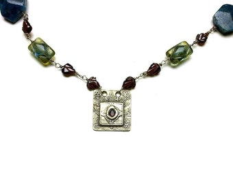 Garnet and blue apatite necklace with precious metal clay fine silver pendant