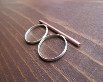Double Finger Bar Ring - Size 8 - Copper and Sterling Silver