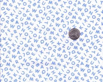 Fat quarter -  Pam Kitty Morning Blue Alphabet Toss - Lakehouse cotton quilt fabric