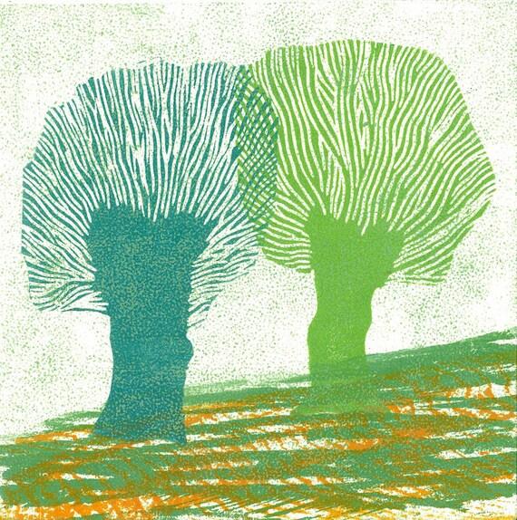 MONOPRINT LINOCUT PRINT - Children Wall Art -  Holland Willows 9 -  Woodblock Print