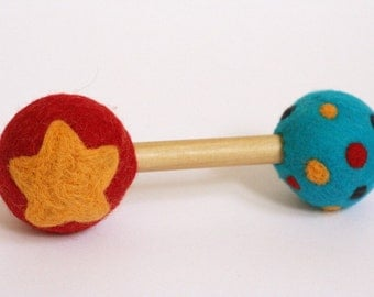 Felted Wool Baby Rattle - Monogram - Custom Baby Rattle - Eco Friendly Natural  - Alternative Baby Toy