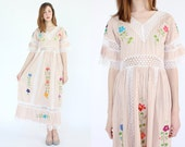 vintage 1970's pink embroidered cotton mexican maxi dress / floral cut out lace dress