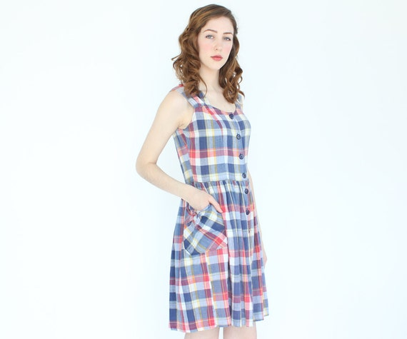 vintage 90's PRIMARY PLAID bow pocket picnic summer dress