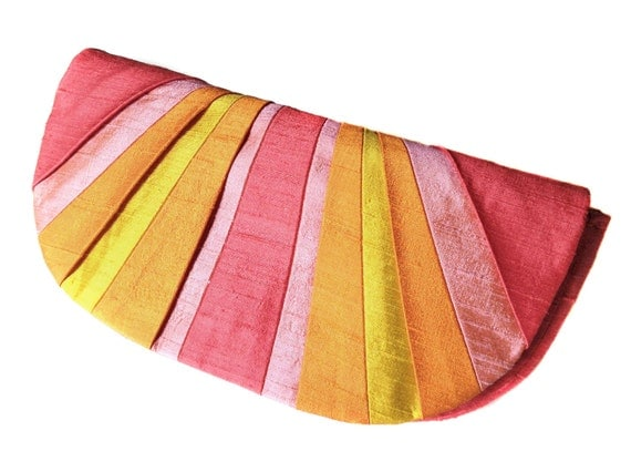 Custom Color Pleated Silk Clutch Purse - RESERVED for laurenthroop
