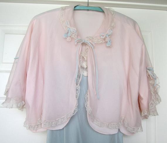 Bridal Shoes Saks: 50s Vintage Bed Jacket Lingerie Pastel Saks Fifth Avenue Sheer