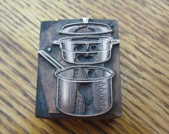 Double Boiler or Steamer Vintage Letterpress Printers Block
