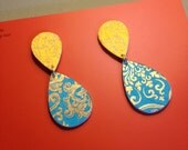 Handmade Stacked Paper Drop Earring-Lokta Paper Chrysanthemum and Damask Design