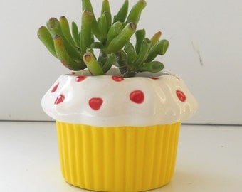 Sweet Heart Cupcake Planter in Lemon Great Cupcake Lover Gift Coworker Gift Vintage Design