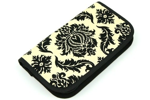 Travel Zip around knitting needle case organizer - damask cavern - black pockets see-thru notions zipper pouch