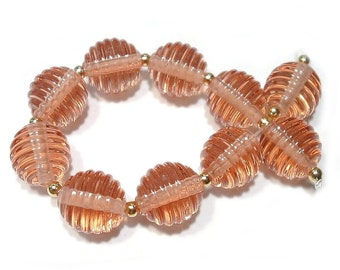 Champagne Pink Ribbed Rounds Handmade Glass Lampwork Beads